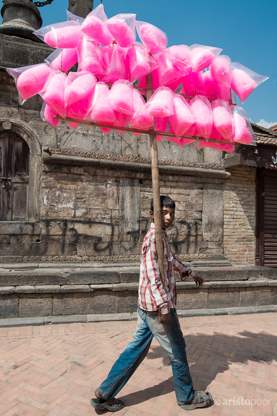 Boy selling Cotton Candy in Patan Durbar Square